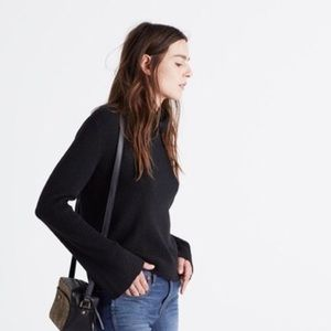 Madewell Black Turtle Neck Sweater Bell Sleeve